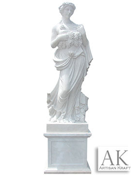 Woman Holding Grapes Statue