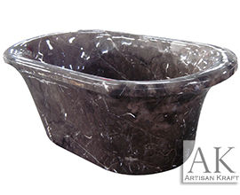 Coffee Marble Hand Carved Slipper Tub