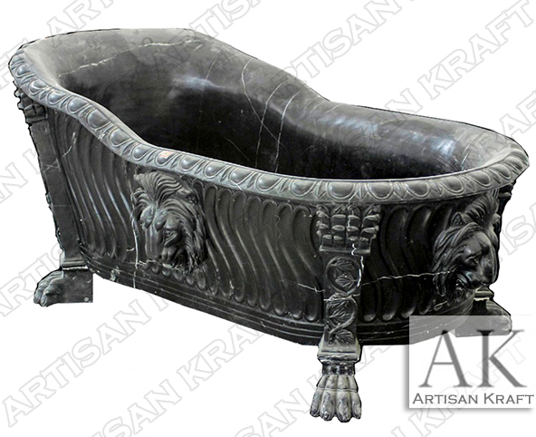 Forest Black Lion Clawfoot Tub Marble