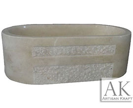 Bathtub Marble Beige Double Ended Oval Tub