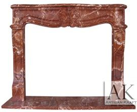 Red Marble French Heritage Mantel